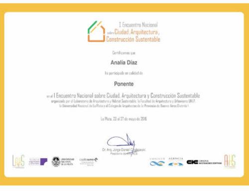 I Encuentro Nacional de Ciudad, Arquitectura y Construcción Sustentable